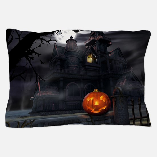 Halloween Pumpkin And Haunted House Pillow Case