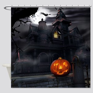 Halloween Pumpkin And Haunted House Shower Curtain