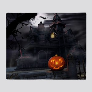Halloween Pumpkin And Haunted House Throw Blanket