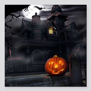 Halloween Pumpkin And Haunted House Square Car Mag