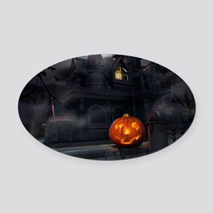 Halloween Pumpkin And Haunted House Oval Car Magne