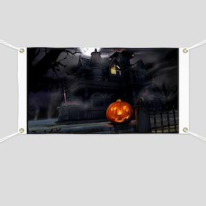 Halloween Pumpkin And Haunted House Banner