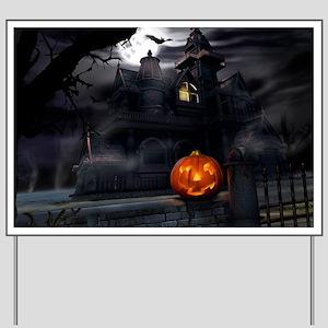 Halloween Pumpkin And Haunted House Yard Sign