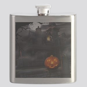Halloween Pumpkin And Haunted House Flask