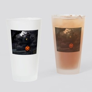 Halloween Pumpkin And Haunted House Drinking Glass