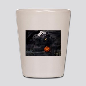Halloween Pumpkin And Haunted House Shot Glass