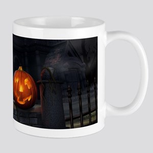 Halloween Pumpkin And Haunted House Mugs