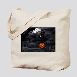 Halloween Pumpkin And Haunted House Tote Bag