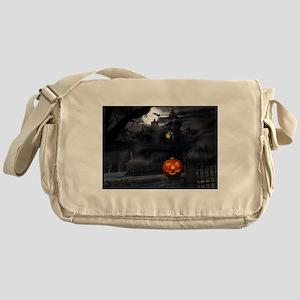 Halloween Pumpkin And Haunted House Messenger Bag