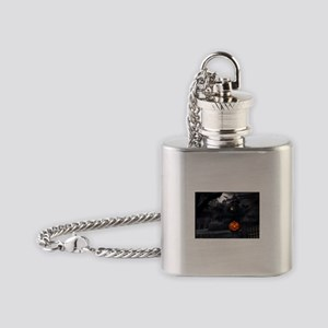Halloween Pumpkin And Haunted House Flask Necklace