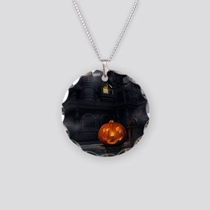 Halloween Pumpkin And Haunted House Necklace Circl