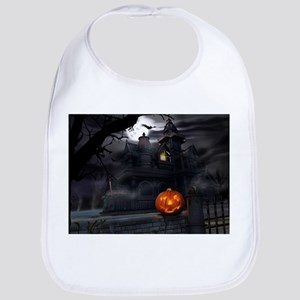 Halloween Pumpkin And Haunted House Bib