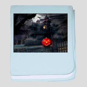 Halloween Pumpkin And Haunted House baby blanket