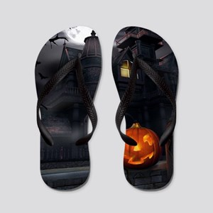 Halloween Pumpkin And Haunted House Flip Flops