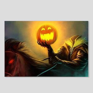 Rider With Halloween Pumpkin Head Postcards (Packa