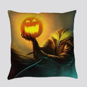 Rider With Halloween Pumpkin Head Everyday Pillow