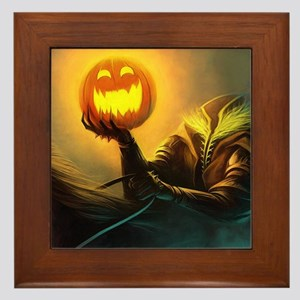 Rider With Halloween Pumpkin Head Framed Tile