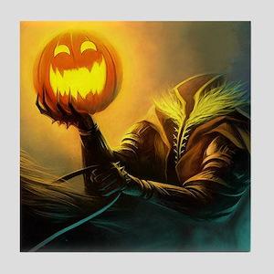 Rider With Halloween Pumpkin Head Tile Coaster