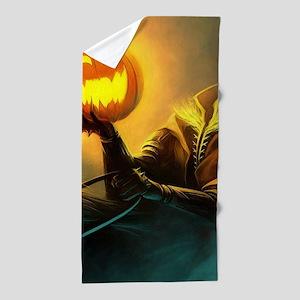 Rider With Halloween Pumpkin Head Beach Towel