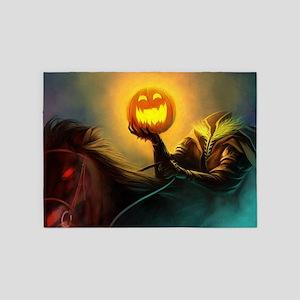 Rider With Halloween Pumpkin Head 5'x7'Area Rug
