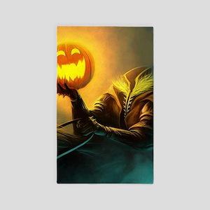 Rider With Halloween Pumpkin Head Area Rug