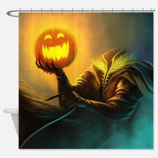 Rider With Halloween Pumpkin Head Shower Curtain