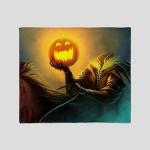 Rider With Halloween Pumpkin Head Throw Blanket