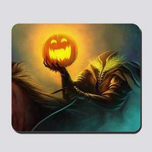 Rider With Halloween Pumpkin Head Mousepad