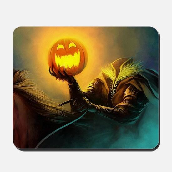 Rider With Halloween Pumpkin Head Mousepad