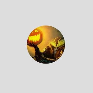 Rider With Halloween Pumpkin Head Mini Button