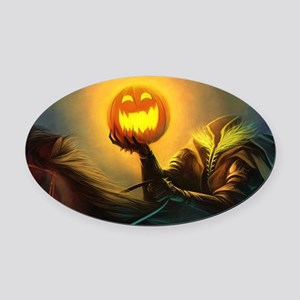 Rider With Halloween Pumpkin Head Oval Car Magnet