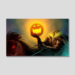 Rider With Halloween Pumpkin Head Car Magnet 20 x