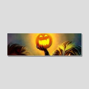Rider With Halloween Pumpkin Head Car Magnet 10 x