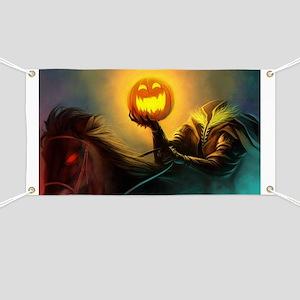 Rider With Halloween Pumpkin Head Banner