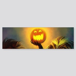 Rider With Halloween Pumpkin Head Bumper Sticker