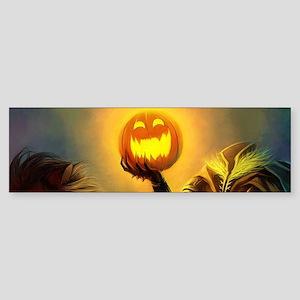 Rider With Halloween Pumpkin Head Bumper Sticker