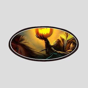 Rider With Halloween Pumpkin Head Patch