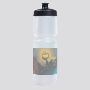 Rider With Halloween Pumpkin Head Sports Bottle