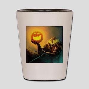 Rider With Halloween Pumpkin Head Shot Glass
