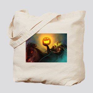 Rider With Halloween Pumpkin Head Tote Bag