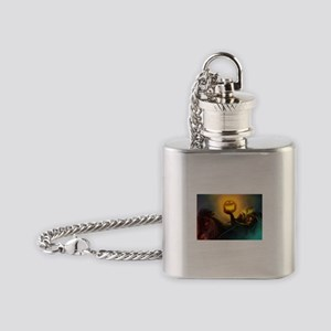 Rider With Halloween Pumpkin Head Flask Necklace