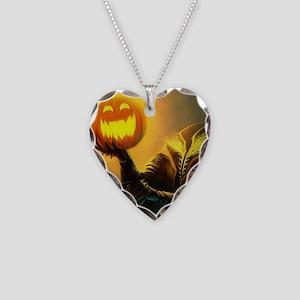 Rider With Halloween Pumpkin Head Necklace Heart C