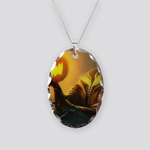Rider With Halloween Pumpkin Head Necklace Oval Ch