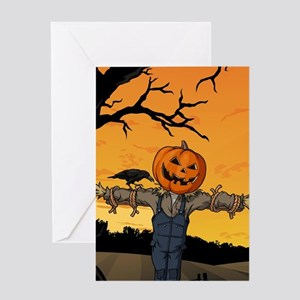 Halloween Scarecrow With Pumpkin Head Greeting Car