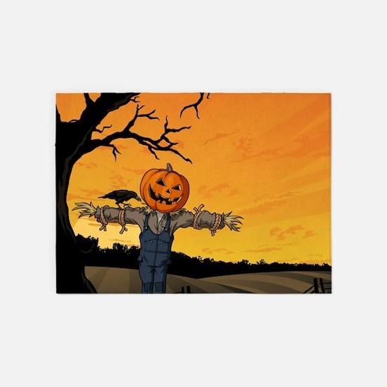 Halloween Scarecrow With Pumpkin Head 5'x7'Area Ru