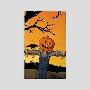 Halloween Scarecrow With Pumpkin Head Area Rug