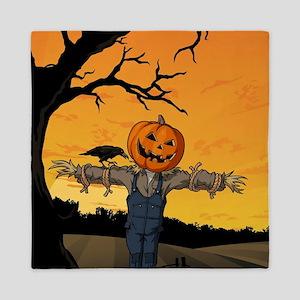 Halloween Scarecrow With Pumpkin Head Queen Duvet