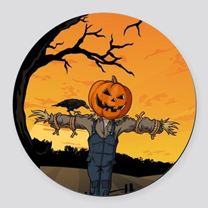 Halloween Scarecrow With Pumpkin Head Round Car Ma