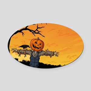 Halloween Scarecrow With Pumpkin Head Oval Car Mag