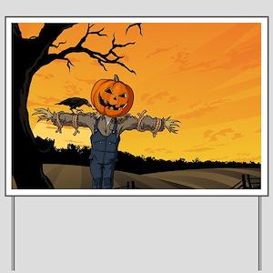 Halloween Scarecrow With Pumpkin Head Yard Sign